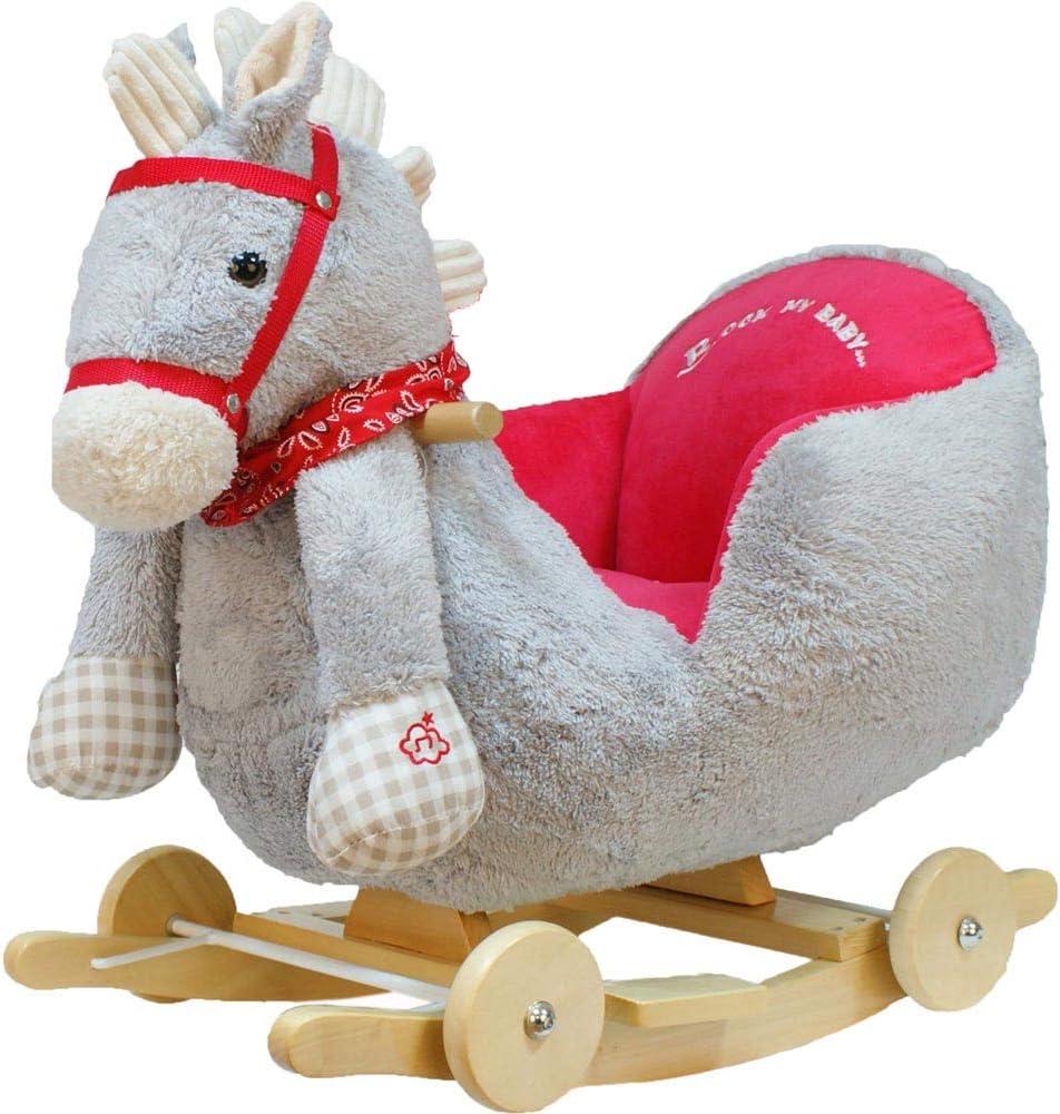 BAKAJI Cavallo a Dondolo in Legno Struttura Basculante con Ruote Cavallino Poni...
