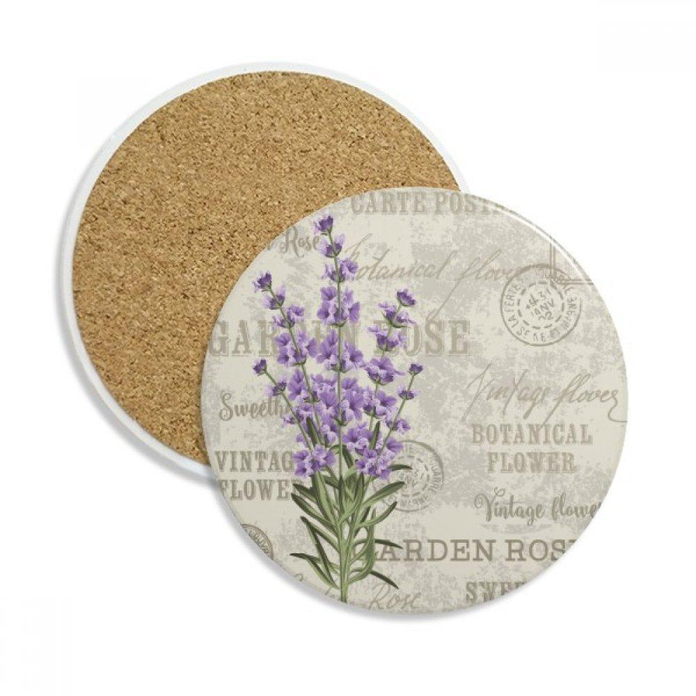パープルラベンダー花植物セラミックコースターカップマグホルダー吸収性ストーンDrinks 2個のギフト   B0798GYYHT