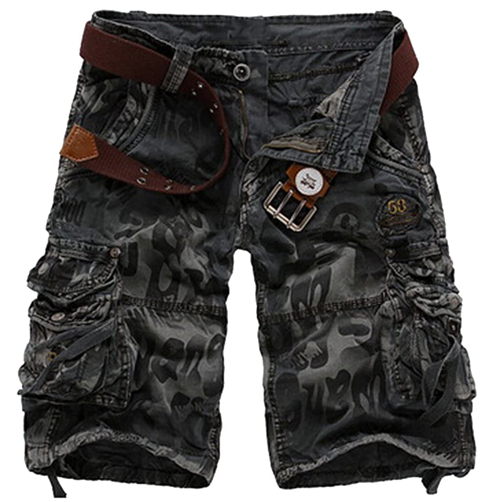 Men Army Cargo Combat Camo Camouflage Overall Shorts Casual Sports Pants