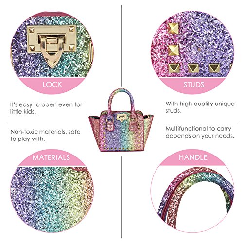 CMK Trendy Kids My First Shinny Glitter Rainbow Purse for Little Girls Toddlers Mini Tote with Poms (80003_Rainbow) by CMK Trendy Kids (Image #5)