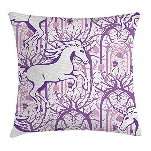 """Ambesonne Unicorn Throw Pillow Cushion Cover, Unicorn Galloping on Curved Swirled Tree Branches in Abstract Forest Pattern Art Print, Decorative Square Accent Pillow Case, 16"""" X 16"""", Purple"""