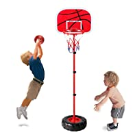 Height Adjustable Protable Basketball Set - Earsoon Kids Basketball Adjust Hoop and Pump Basketball Set Indoor and Outdoor Fun Toy for 3+ Years Old