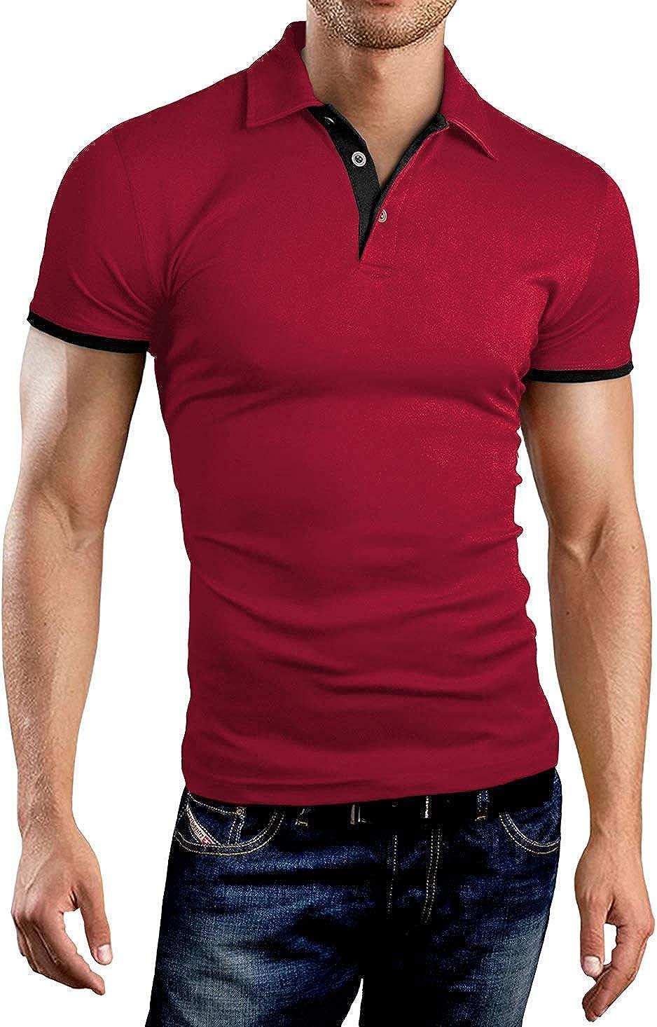 KUYIGO Men's Long Sleeve Polo Shirts Casual Slim Fit Basic Designed Cotton Shirts at  Men's Clothing store