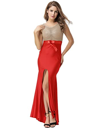 ohyeahlady Women Gold Lace Sleeveless Red Side Slit Evening Gown Plus Size Maxi Evening Dresses