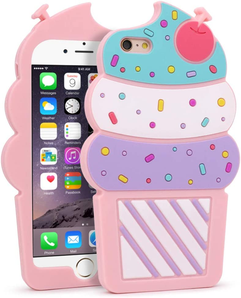 Yonocosta iPhone 6 Plus Case, iPhone 6S Plus Cases, Cute 3D Cartoon Cherry Cupcakes Ice Cream Shaped Soft Silicone Full Protection Bumper Case Cover for Girls Kids Lady Women(Ice Cream)