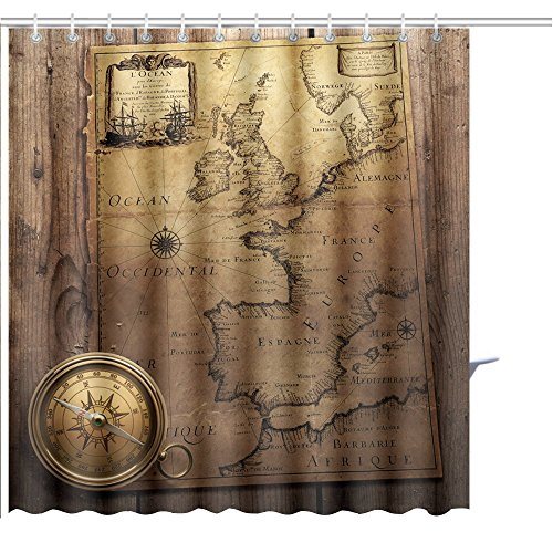 Shower Curtain old compass on vintage map france spain england portugal holland denmark author pierre du Graphic Print Polyester Fabric Bathroom Decor Sets with Hooks 36 x 78 Inches by MuaToo