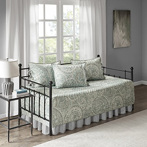 Comfort Spaces Twin Daybed Bedding Sets – Kashmir 5 Pieces All Season Daybed Cover Quilt Set – Soft Microfiber Blue Paisley Printed with Solid Grey Reverse