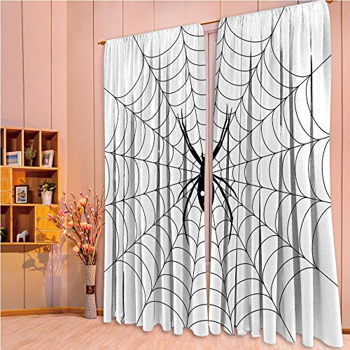 ZHICASSIESOPHIER Print Kids Curtains,Polyester Curtains Panels for Bedroom,Living Room,Thread Circular Cobweb Arachnid Cartoon Halloween 108Wx63L Inch