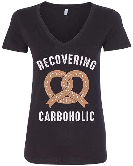 39a197a242f Amazon.com  Threadrock Women s Recovering Carboholic V-Neck T-Shirt ...