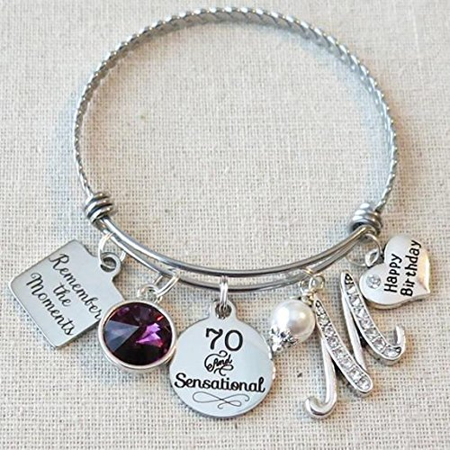 70th BIRTHDAY Gift Milestone Birthday Gifts For Her Best Friend Bracelet Remember The Moments Bangle