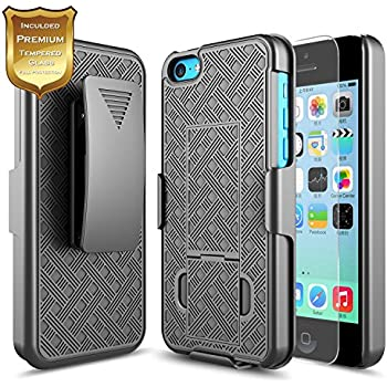 Amazon iphone 5c case with tempered glass screen protector iphone 5c case with tempered glass screen protector 5c holster case nagebee freerunsca Choice Image