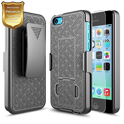 - iPhone 5C Case with [Tempered Glass Screen Protector], 5C Holster Case, NageBee Combo Shell & Holster Case Super Slim Case w/ Built-In Kickstand [Swivel Belt Clip] For Apple iPhone 5C - Black
