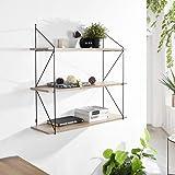 FurnitureR Estante flotante con soportes de metal, almacenamiento de pared de madera rústica montada en la pared…