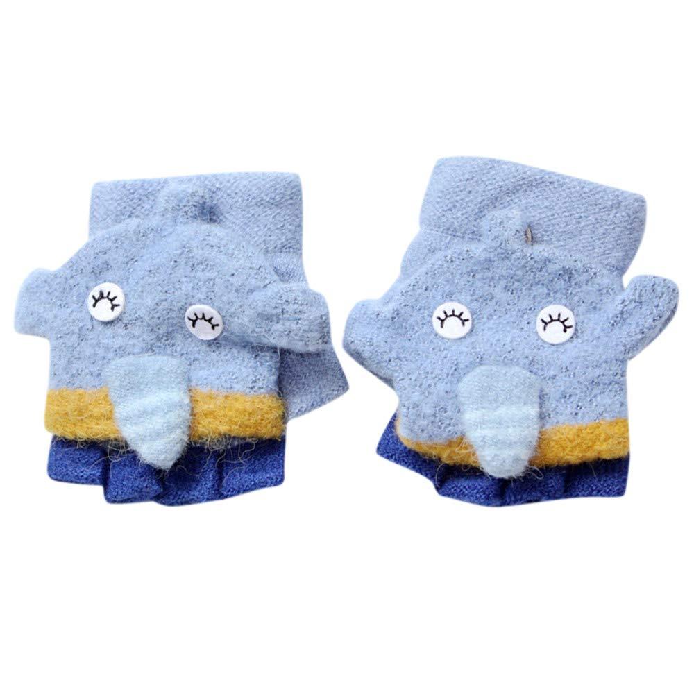 XXYsm Baby Handschuhe Winter Fäustlinge Fingerlose Jungen Mädchen Cartoon Elefant Warm Half Finger Gestrickt Gloves 2-5 Jahre alt