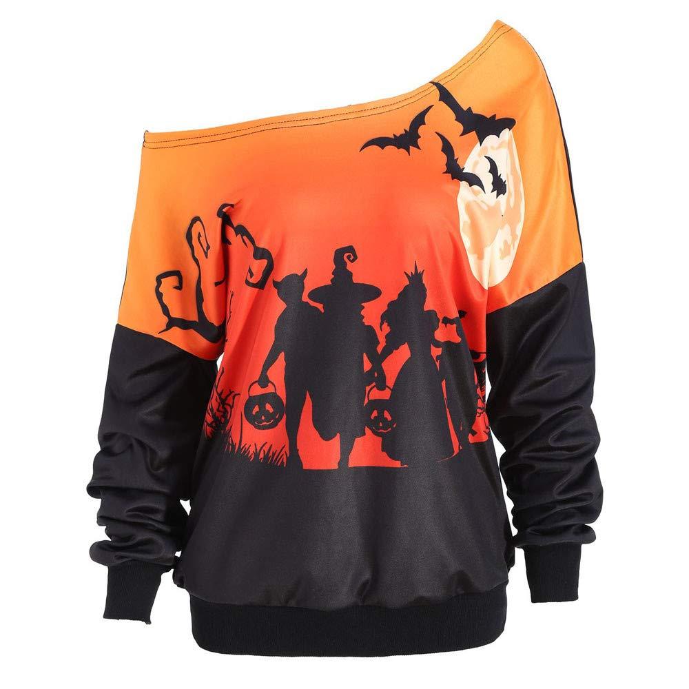 kaifongfu Women Halloween Long Sleeve Sweatshirt Shoulder Party Bat Print Tops (Orange,M)