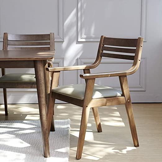 Modern Retro Dining Chair Walnut Finish Brown Faux Leather Seat Office Desk
