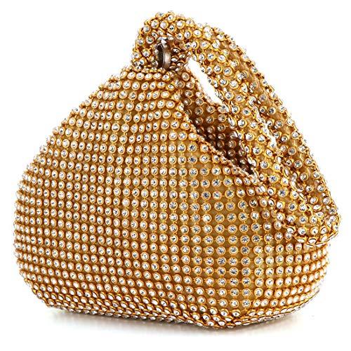 Meeto Fashion Womens Glitter Clutch Bag Crystal Diamante Sparkly Silver Evening Bag Bridal Prom Party Handbag Purse (Gold)