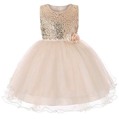794ca0f15e311 LMMVP Bébé LianMengMVP Petite Fille Fleur Robe de Princesse Paillettes  Demoiselle d honneur Enfants Robe