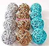 Christmas Gifts : Small Silver, Gold, Light Blue Rattan Ball, Wicker Balls, DIY Vase And Bowl Filler Ornament, Decorative spheres balls, Perfect For Decoration On Any Occasion 2 - 2.5 inch, 12 Pcs.