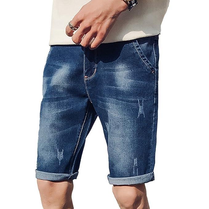 Xinwcang Hombre Casual Pantalones Cortos Básicos Slim Fit Elasticos Jeans Cargo Deportivos Vaqueros Rotos Shorts JN0Yi
