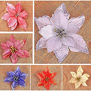 Artificial Fowers 15Cm Christmas Flowers Xmas Christmas Tree Decorations Glitter Wedding Party Artificial Flowers Decor 6 Colors Drop Shipping,Silver 4