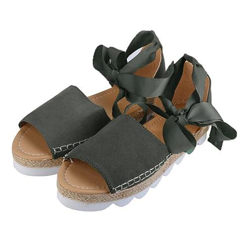 ASHOP Sandalias Mujer Bohemia Las Bailarinas Planas Zapatos de Cordones Verano Alpargatas con Cordones Moda Zapatillas De Playa Sandalias y Chanclas de ...