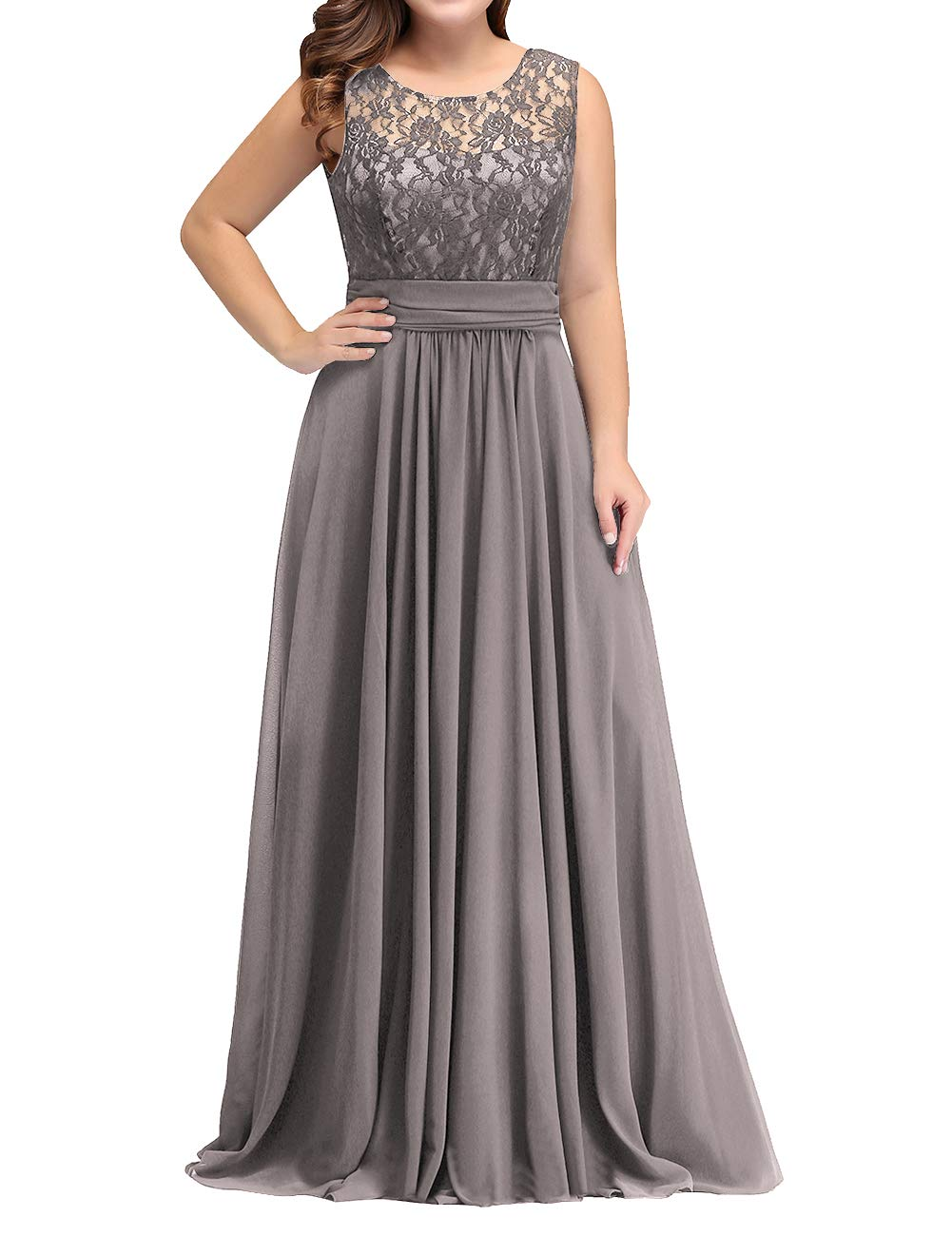 Mother Dress Lace Plus Size Mother of The Bride Skater Dress Bridal Wedding  Party Chiffon Warm Grey