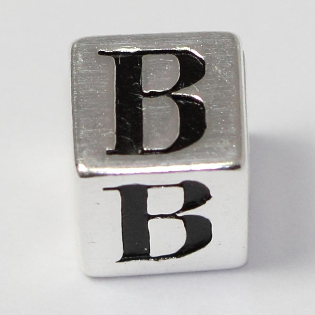 Sterling Silver Charm Letter B Initial Bead fit all Charm Bracelet Anniversary Birthday Mothers Gifts EC651