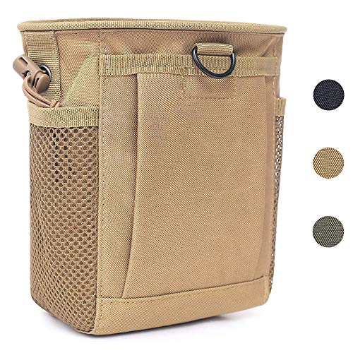 Tactical Molle Drawstring Magazine Dump Pouch, Adjustable Military Utility Belt Fanny Hip Holster Bag Outdoor Ammo Pouch (Tan) ()