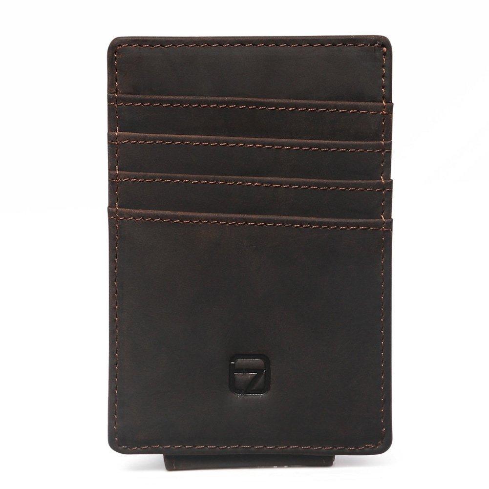 Teemzone RFID Blocage Pinces /à billets Porte-Monnaie Homme Cuir v/éritable Portefeuille Pour poches pantalon ou veste Porte-cartes de cr/édit aimant marron clair