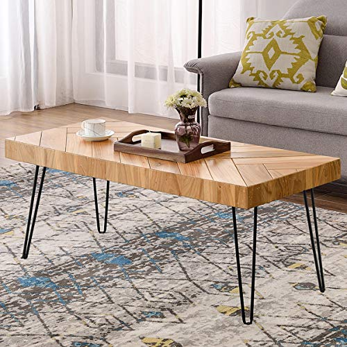 (P PURLOVE Modern Wood Coffee Table, Easy Assembly Center Table Cocktail Table for Living Room w/Chevron Pattern & Metal Hairpin Legs, Glossy Finished Rectangular Side Table)