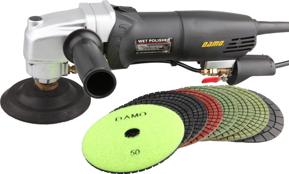 DAMO Variable Speed Stone Polisher 4'' Wet Polishing Kit for Granite/Concrete Countertop/Floor