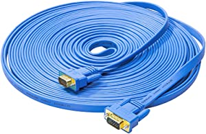 DTECH 10m Flat VGA Cable Long 32 Feet Gold Plated Male to Male 15 Pin Connector Ultra Slim Blue Wire for Computer Monitor SVGA Projector