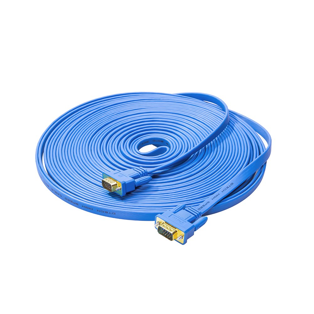 DTECH Flat 65ft VGA Cable Male to Male 15 Pin Connector for Desktop Computer to Monitor - Blue - 20m