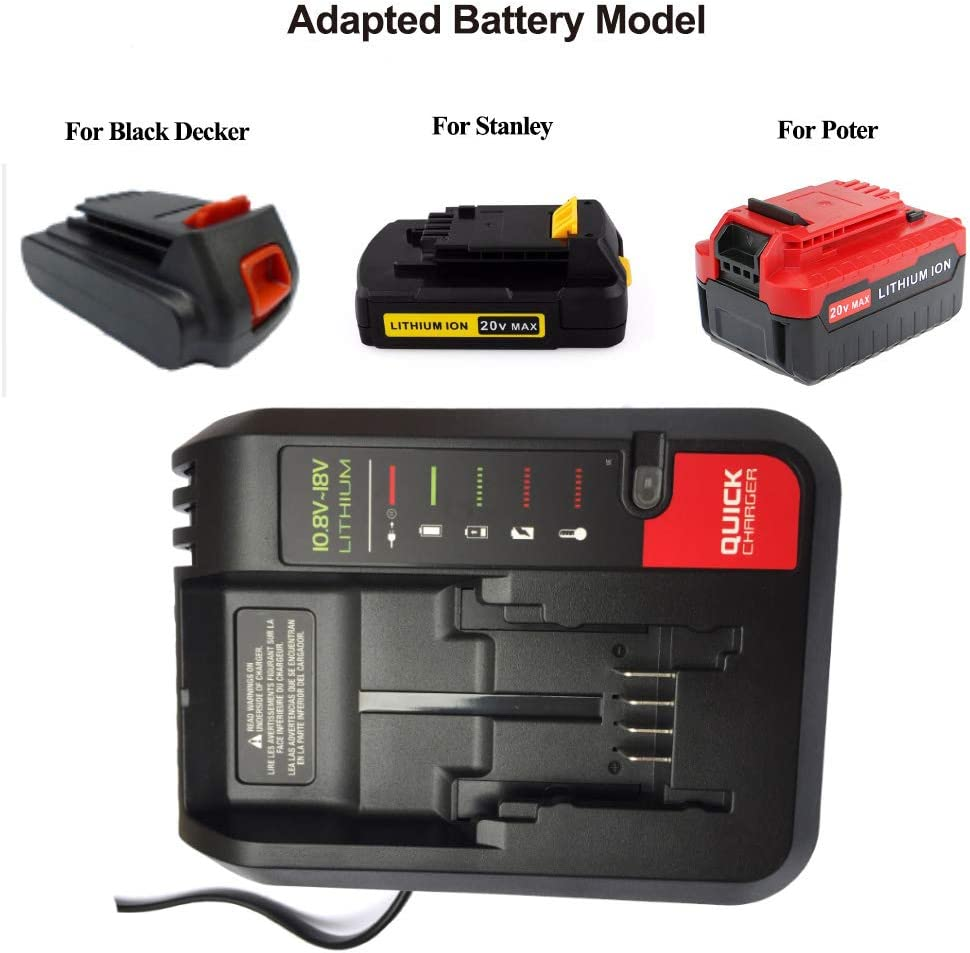 LaiPuDuo BDCAC202 Replacement Battery Charger For Black Decker For Stanley For Porter-cable 10.8V-20V Li-ion Battery PCC692L LB20 LBXR20