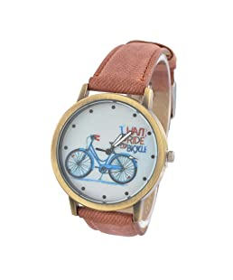 Souarts Brown Strap Bicycle Dial Artificial Leather Quartz Round Watch Women Watch Gift Christmas