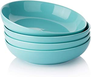 Wide and Shallow Large Porcelain Salad and Pasta Bowls Set of 4-35 Ounce Microwave and Dishwasher Safe Serving Dishes, Turquoise