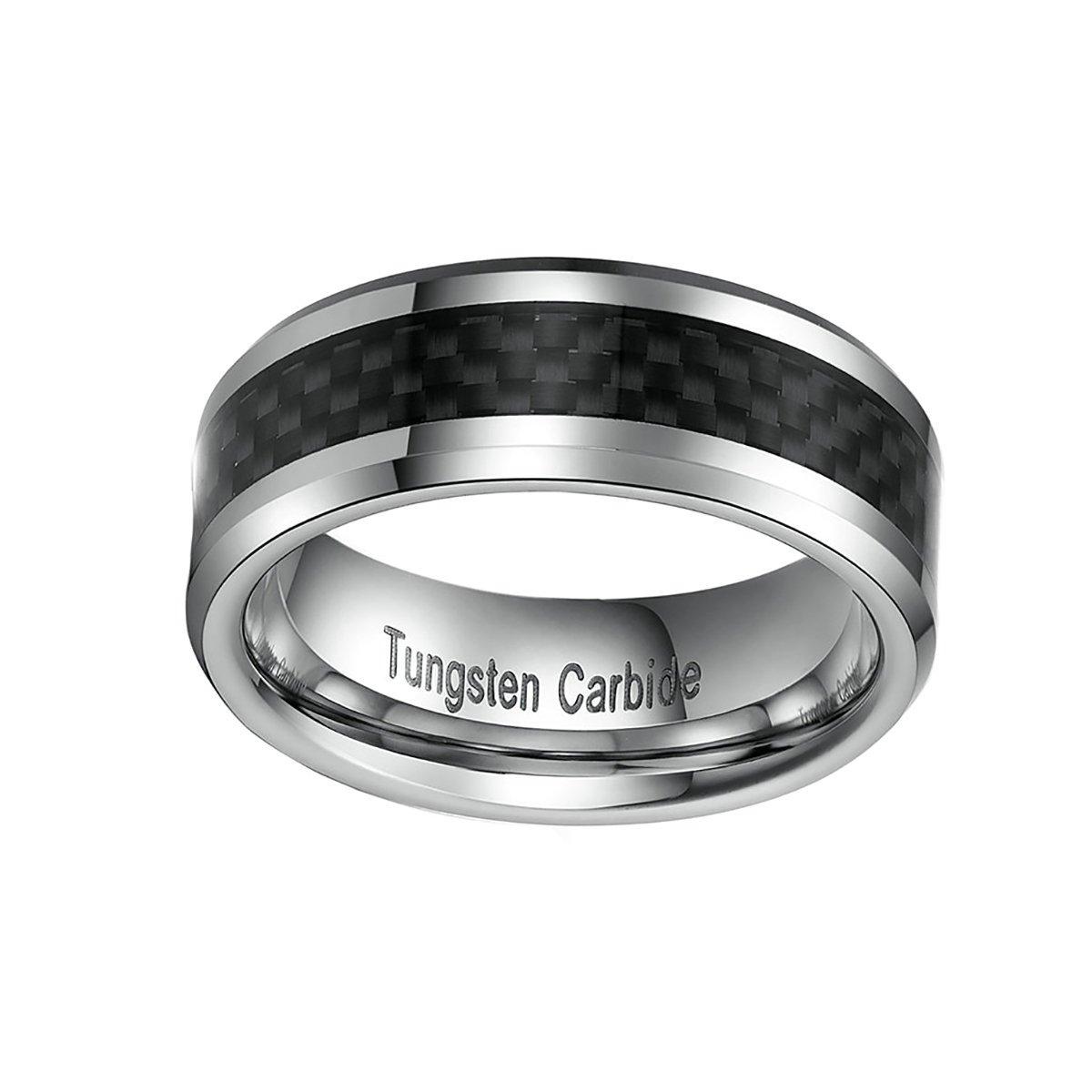5mm//8mm Tungsten Wedding Ring for Women Men Black Carbon fiber Inlaid Comfort Fit