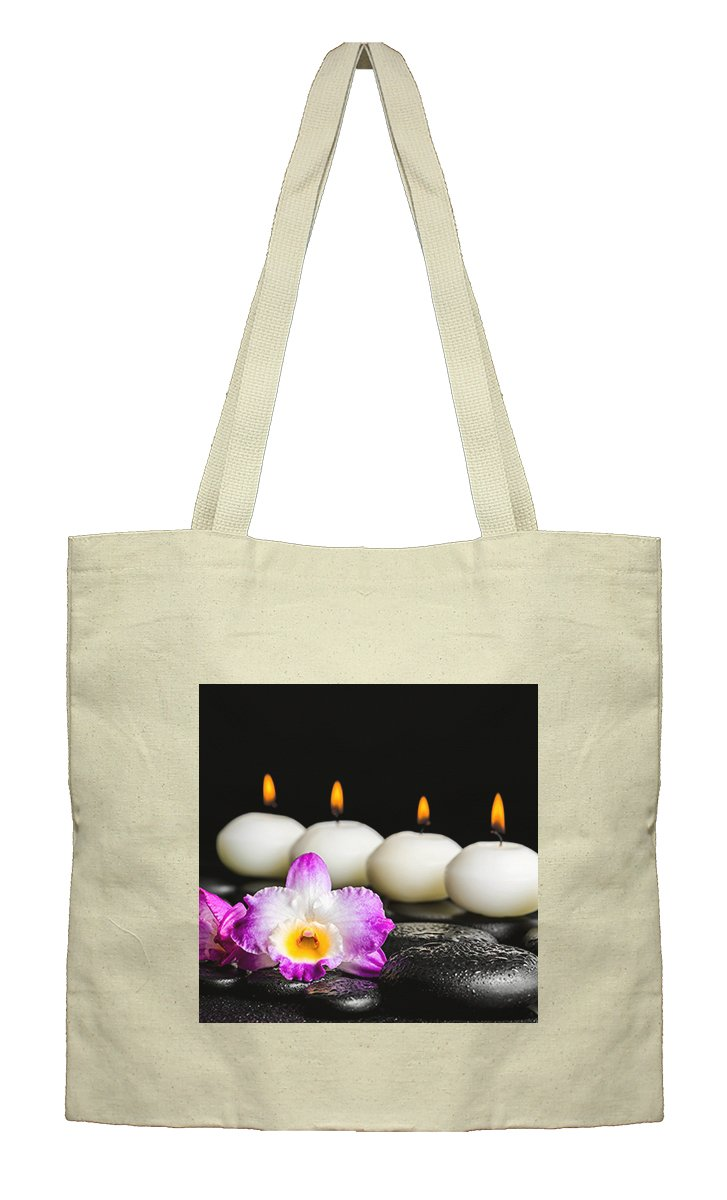Flat Market Canvas Bag Spa Still Life Purple Orchid Dendrobium By Style In Print