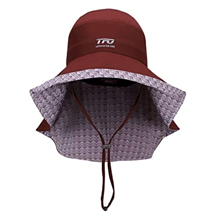TFO Women Sun Hats Summer UV Protection Wide Brim Cap Cotton with Neck Cover  Cord Dark c9cff22b215