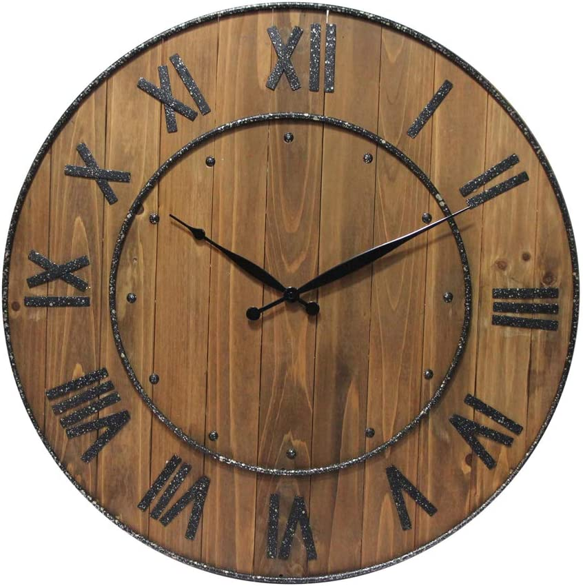 Infinity Instruments Wine Barrel Decorative Wall Clock, Dark Wood
