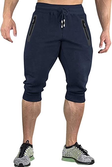 Kefitved - Pantalones de chándal 3/4 para hombre, de algodón ...