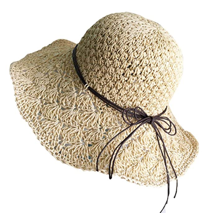 HX fashion Tejido A Mano para Mujer Sombrero De Paja Sombrero De Basic  Playa Plegable Vise  Amazon.es  Ropa y accesorios 5f26a7cee815