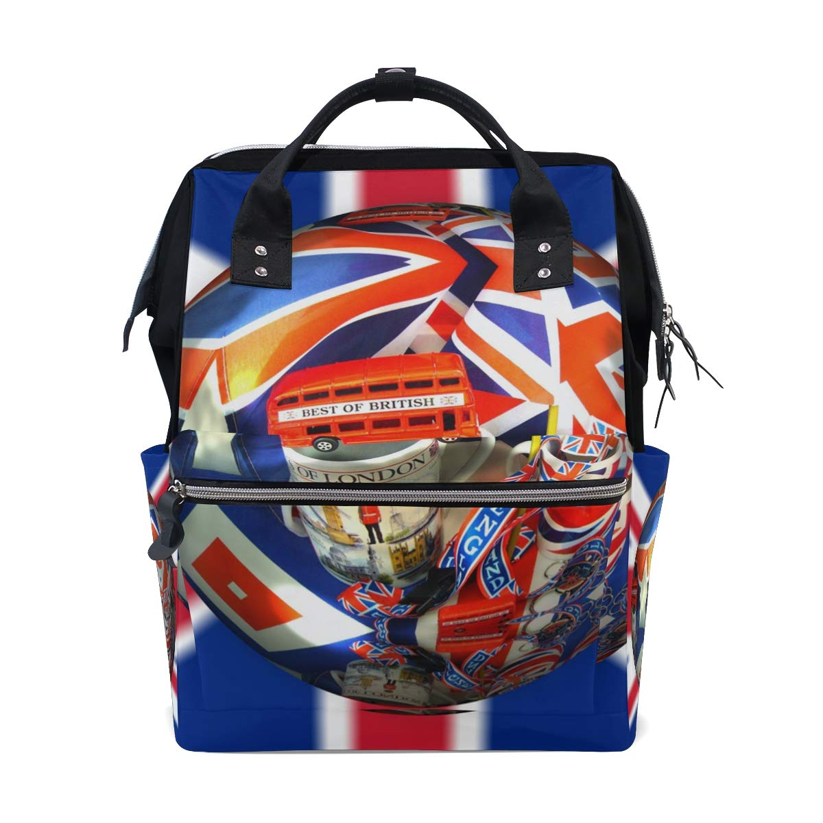25462c3ab93a Amazon.com : UK British Flag and London Elements Diaper Bag Backpack ...