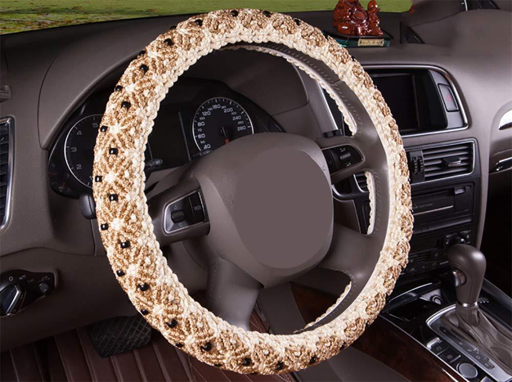 Steering wheel cover Couvre Volant de Voiture en Soie de Glace Respirant /étui de Volant antid/érapant pour Universal Car Fit 38cm 15 Pouces