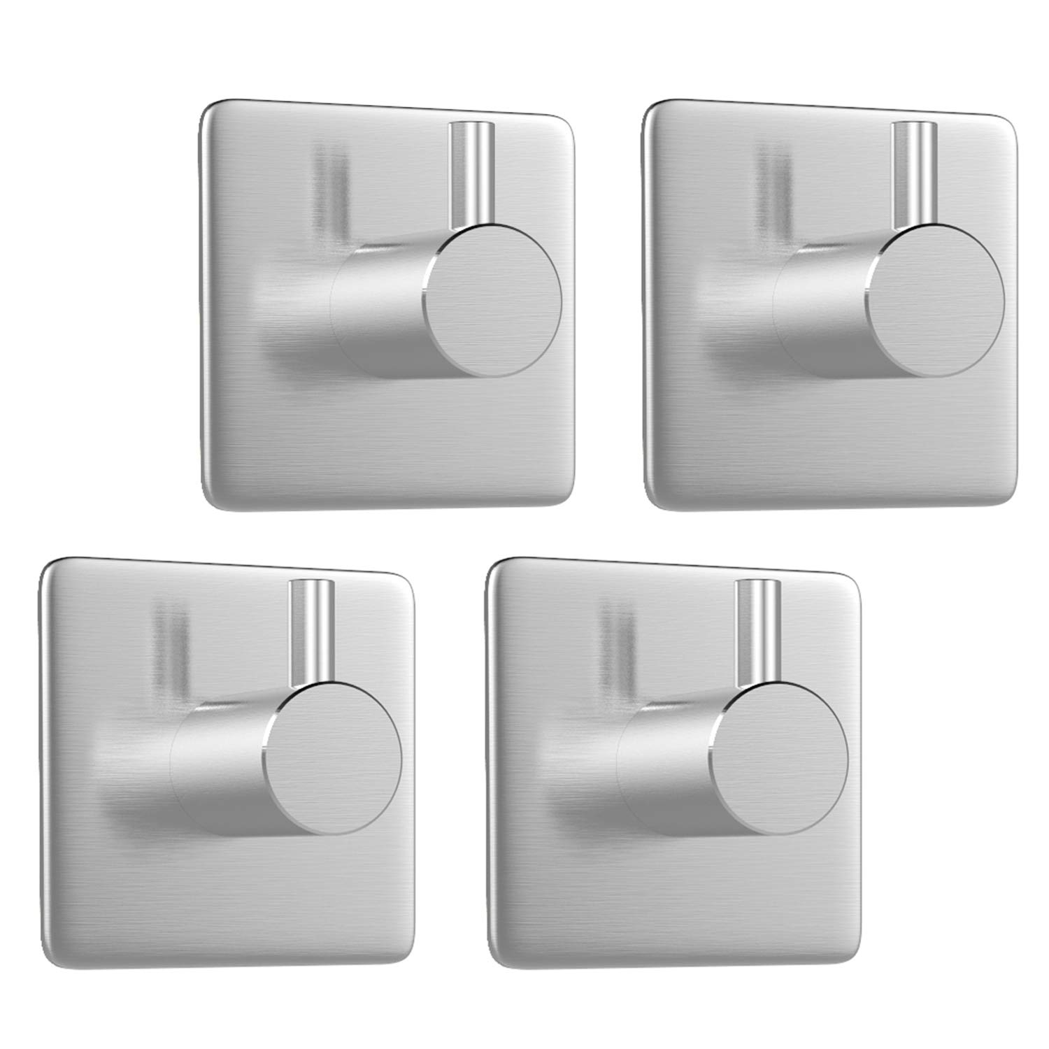 Luxspire 4PACK 3M Self Adhesive Hook Kitchen Bathroom Wall Door Heavy Duty 304 Stainless Steel Stick Holder Hanger Brushed Finish