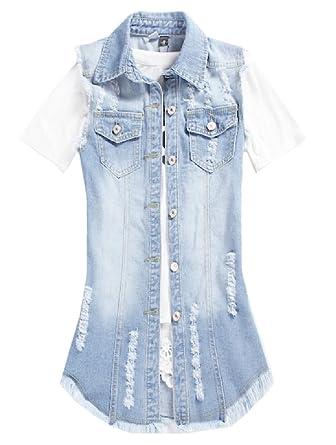 b632b7f7364f Tootlessly-Women Plus Size Distressed Longline Sleeveless Jean Vest Dark  Blue 2XL: Amazon.co.uk: Clothing