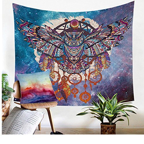 Jiamingyang Owl Dream Catcher with Feathers Tapestry Bohemia Wall Hanging Indian Dorm Decor for Living Room Bedroom (Owl, Small/51 X59) (Bedroom Owl Decor For)