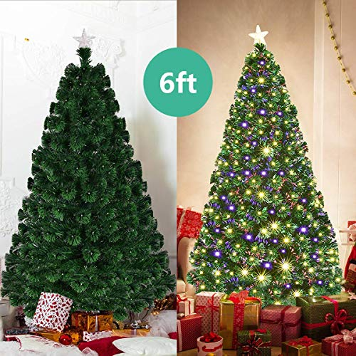 Goplus 6FT Artificial Christmas Tree Pre-Lit Optical Fiber Tree 8 Flash Modes W/UL Certified Warm White Electrodeless LED Lights & Metal Stand
