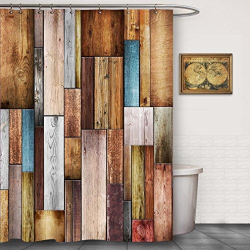 Maroon Wood - FOOG Colorful Wood Barn Door Shower Curtain by Texture Panels Home Bathroom Decoration Polyster Fabric Mildew Resistant Waterproof -Blue Gray Maroon (70